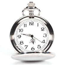 PLAIN SILVER Smooth Stainless Steel Case Dial Arabic Numbers Modern Pocket Watch Clock Necklace Long Chain Quartz
