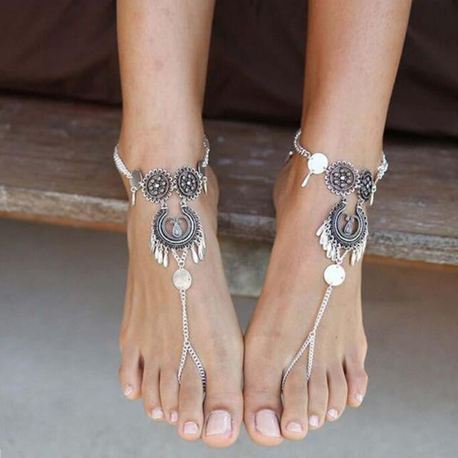 1 PC CASUAL SILVER BOHEMIAN  BOHO Breezy Soles Styles Wear WITH SHOES ~ Flats ~ High Heels ~ Flip Flops ~ Beach Wedding Bride Foot Jewelry Barefoot Sandal
