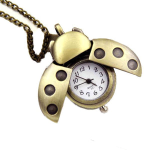 CUTE LADYBUG Press Antenna Wings OPEN and Fly OUT Fashion Vintage Retro Bronze Quartz Pocket Watch Pendant Chain Necklace Lady Bug
