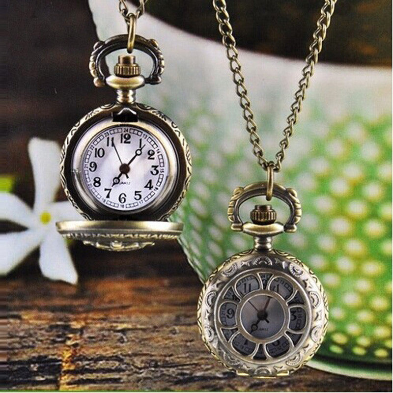 MINI Flower OPEN face Vintage Retro Bronze Quartz Pocket Watch Pendant Chain Necklace love ladies gift women's girls clock petals