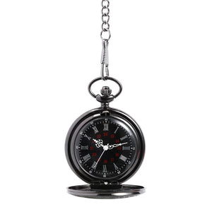 CLASSIC BLACK ROMAN NUMERAL Pocket Watch Clock or Necklace Working Wedding Best man Gifts Steampunk
