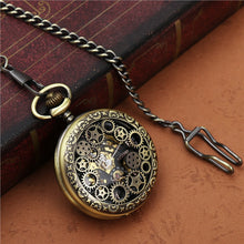 GEARS Retro Bronze Skeleton Windup Steampunk Semi-Auto Mechanical Roman Numerals Pocket Watch with Fob Chain