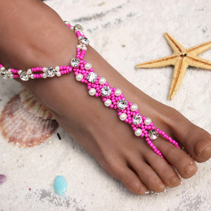 60b89faeb0409 HOT PINK OR TURQUOISE BLUE Wear with Shoes! Beach Wedding Bridal Foot  Jewelry Female Rhinestone