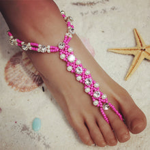 HOT PINK OR TURQUOISE BLUE Wear with Shoes! Beach Wedding Bridal Foot Jewelry Female Rhinestone Pearl Beads Barefoot Sandals Breezy Soles Styles