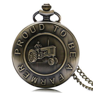 "Proud to be a Farmer FFA 4-H Club tractor dere john jon Pocket Watch Clock necklace Battery 36"" chain Lot of 1"