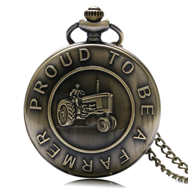 Proud to be a Farmer FFA 4-H Club tractor dere john jon Pocket Watch Clock necklace Battery 36