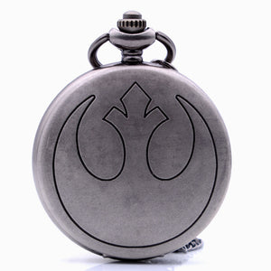 "Rebel Alliance Star Wars jedi Pocket Watch Clock necklace Battery 36"" chain Lot of 1"