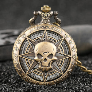 "Pirates Crossfire Caribbean Pocket Watch Clock necklace Battery 36"" chain Lot of 1"