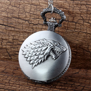 "GOT Game of Thrones Stark Wolf Pocket Watch Clock necklace Battery 36"" chain Lot of 1"