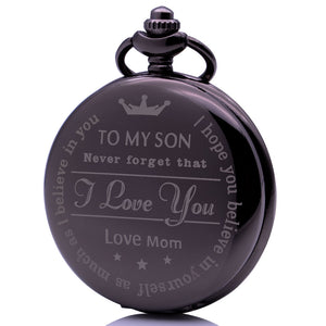"Son Gift from Mom Graduation - Valentines Pocket Watch Clock necklace Battery 36"" chain Lot of 1"