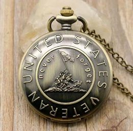 "US USA Veteran gift honor memory Pocket Watch Clock necklace Battery 36"" chain Lot of 1"