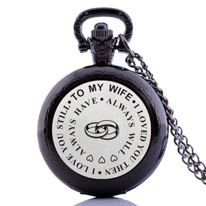 "Wife Sentimental Valentine gift Pocket Watch Clock necklace Battery 36"" chain Lot of 1"