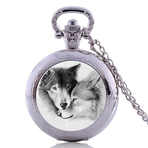 "2 Cute wolves Pocket Watch Clock Gift wolf valentines necklace Battery 36"" chain Lot of 1"