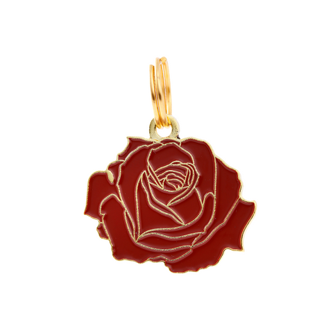 Pet ID Tag - Rose - Red & Gold