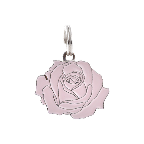 Pet ID Tag - Rose - Pink & Silver