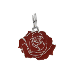 Pet ID Tag - Rose - Red & Silver