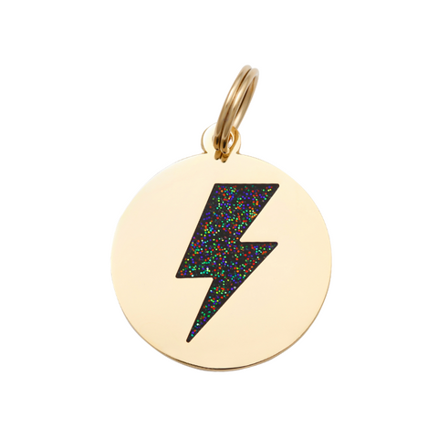 Pet ID Tag - Lightning Bolt - Black & Gold