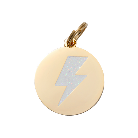 Pet ID Tag - Lightning Bolt - White & Gold