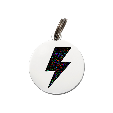 Pet ID Tag - Lightning Bolt - Black & Silver