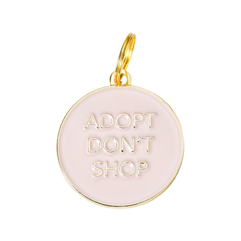 Pet ID Tag - Adopt Don't Shop - Pink