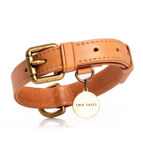 Front view of our brown leather pet collar with brass hardware and special loop in the front for a neatly placed pet ID tag.