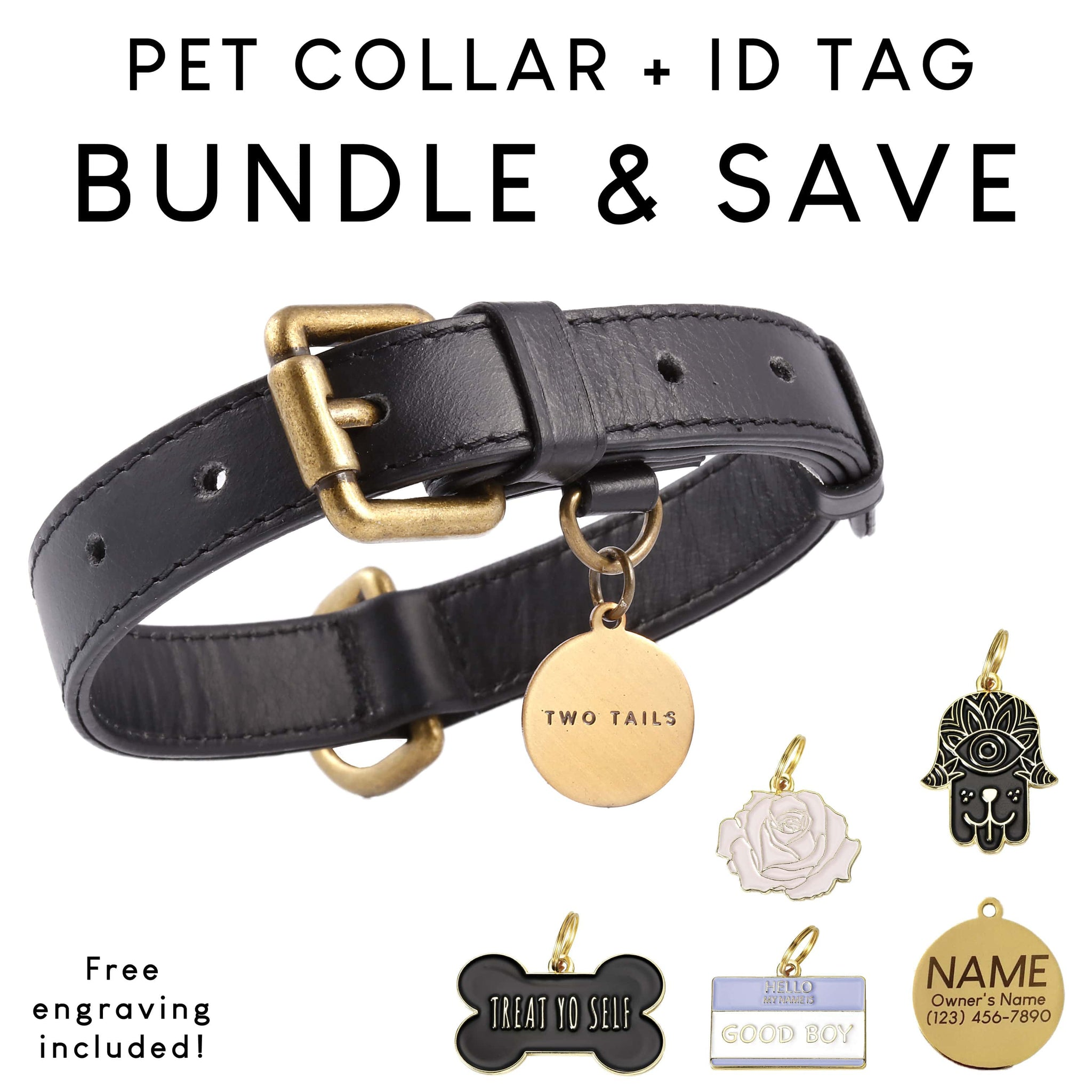 Collar (Black) & ID Tag Bundle