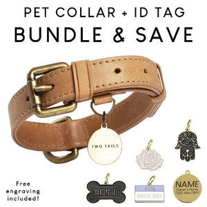 Collar (Tan Brown) & ID Tag Bundle