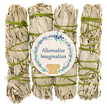 Alternative Imagination Premium California White Sage 4 Inch Smudge Sticks Brand. (4 Pack)