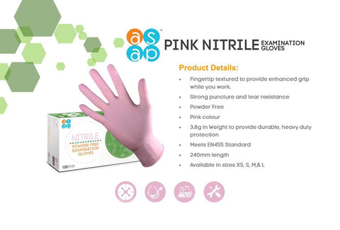 ASAP Nitrile Power Free Disposable Gloves, Pink