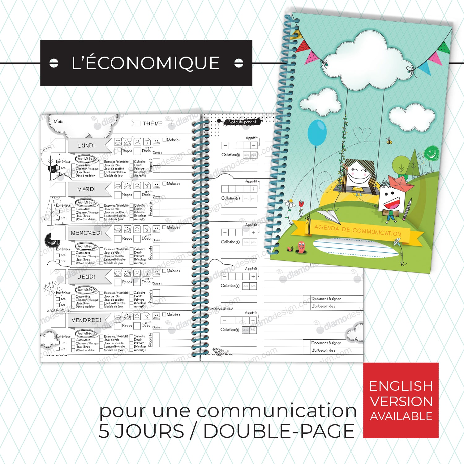 Couverture et semaine de l'agenda de communication de Diamodesign | Daycare Communication Diary also available.