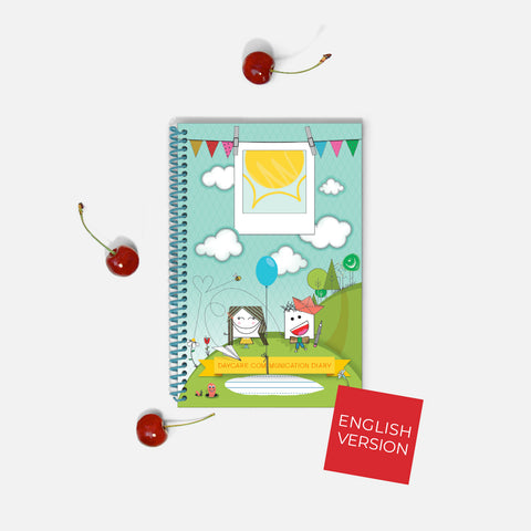 Front cover of the Childcare Communication Diary THE ECONOMIC for early childhood educator, parent, child and baby. A product for daycares and family.