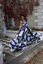 Blue and white print evening dress
