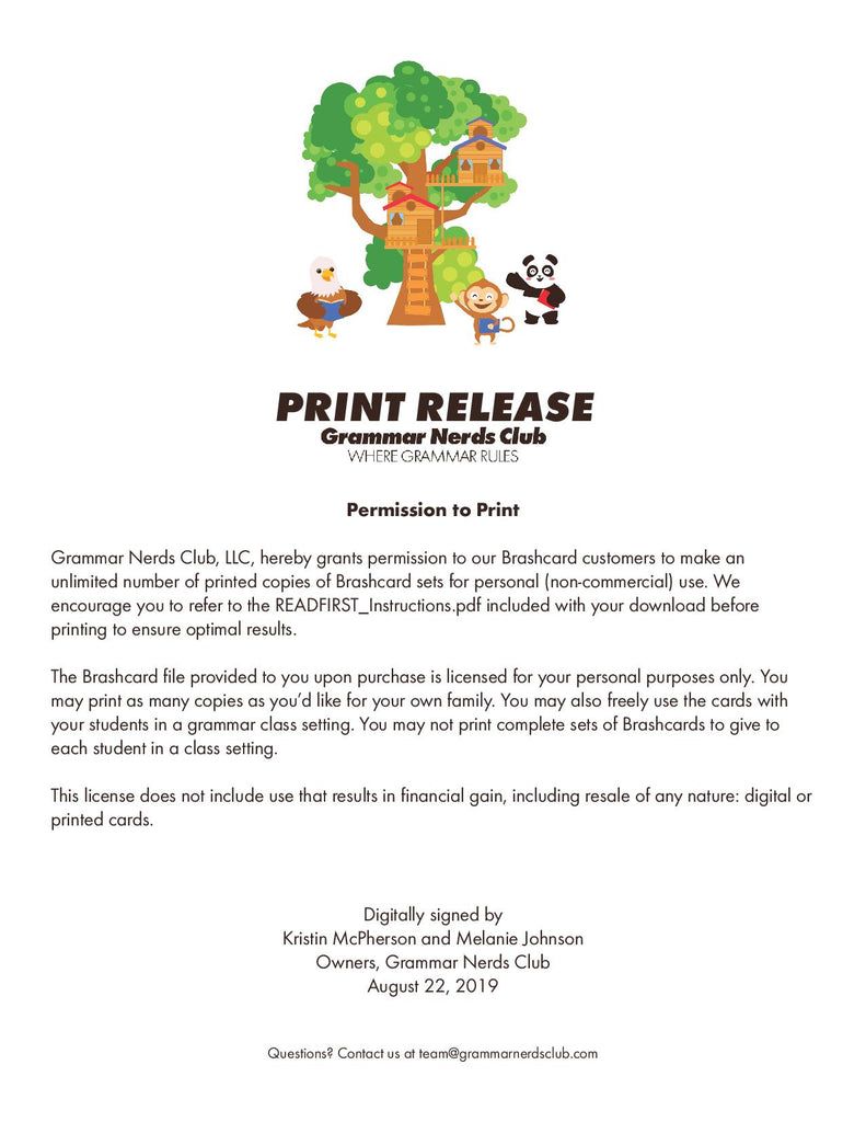 Print Release for Brashcards
