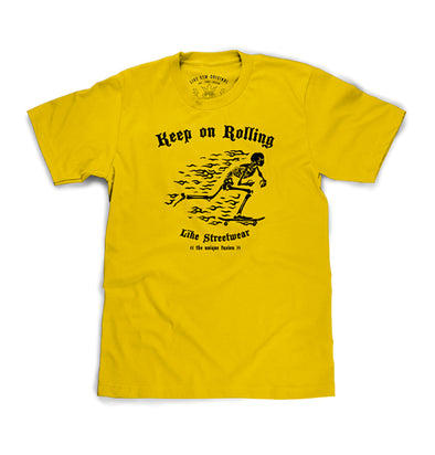 Camiseta Masculina Amarela Keep on Rolling - Like Streetwear