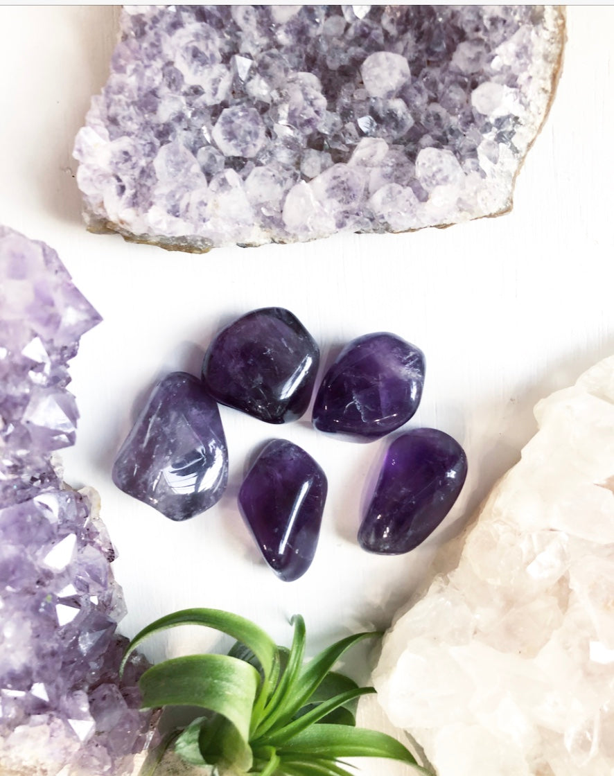 Amethyst AAA Grade Tumbled Crystal Transformation and Protection