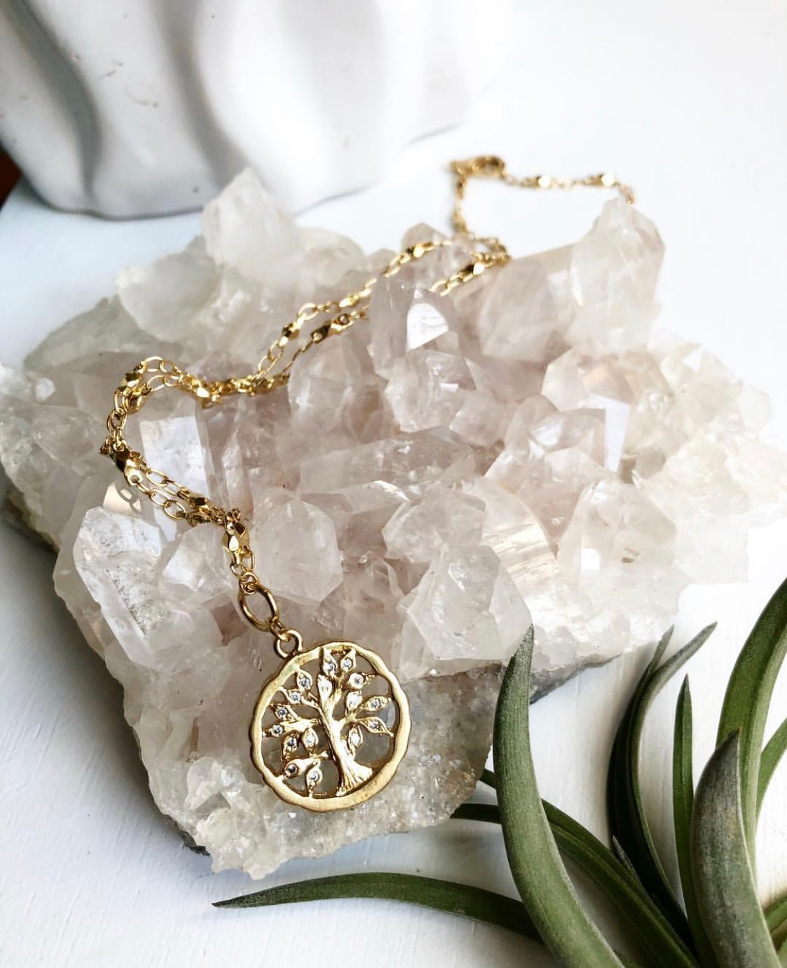 Tree of Life with Swarovski Crystals on 24k Gold Sacred Geometry Chain