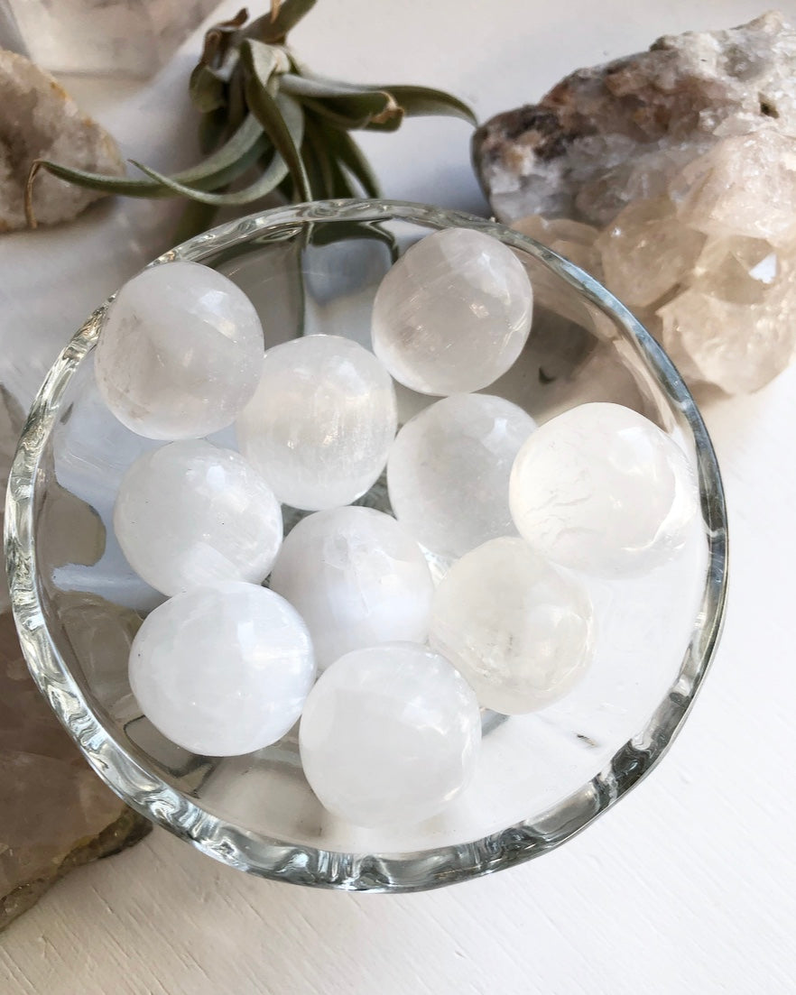 Selenite Orb Tumbled Crystal Protection Divine Guidance Crown Chakra