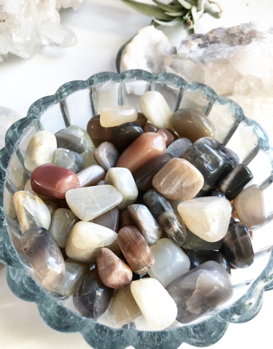 Moonstone Natural Peach Black Ivory Tumbled Stone Crystal