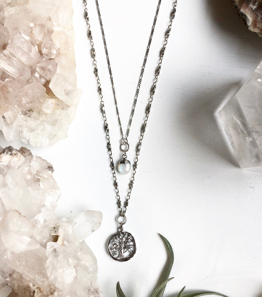 Tree of Life in Silver with Swarovski Crystals on Pure Silver Dipped Sacred Geometry Chain