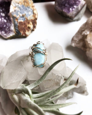 Reserved Larimar Custom Crystal Wire Wrapped Ring Size 7.5