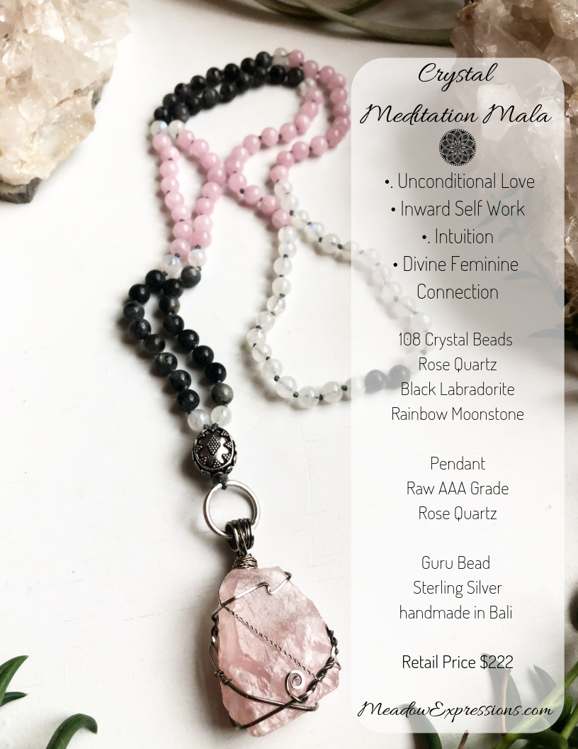 Rose Quartz Rainbow Moonstone 108 Bead Crystal Mala Necklace