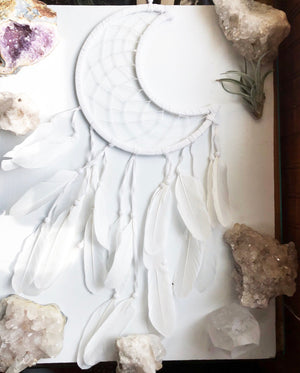 Dream Catcher Crescent Moon in White