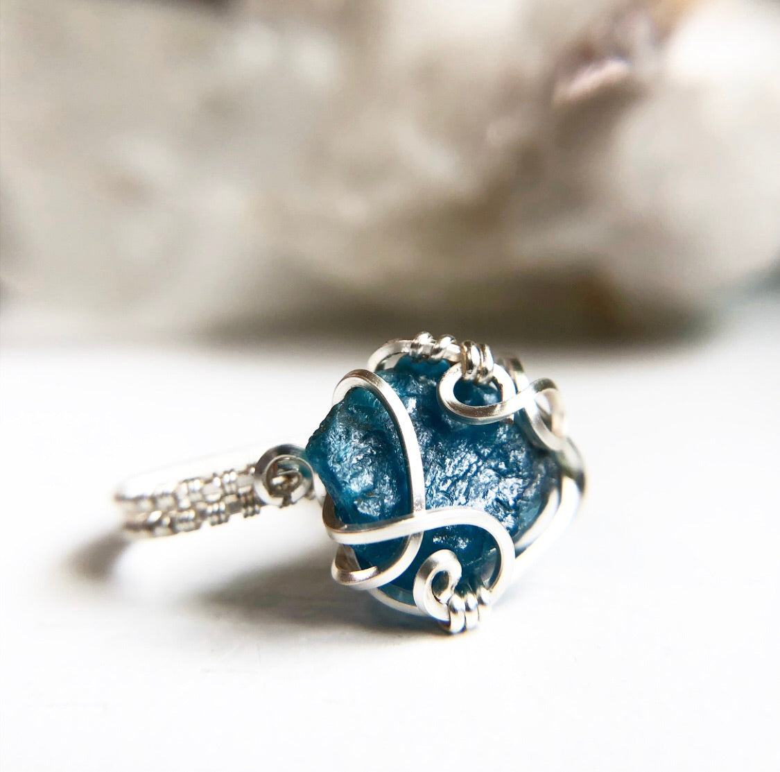 Blue Apatite Wire Wrapped Crystal Ring Size 5