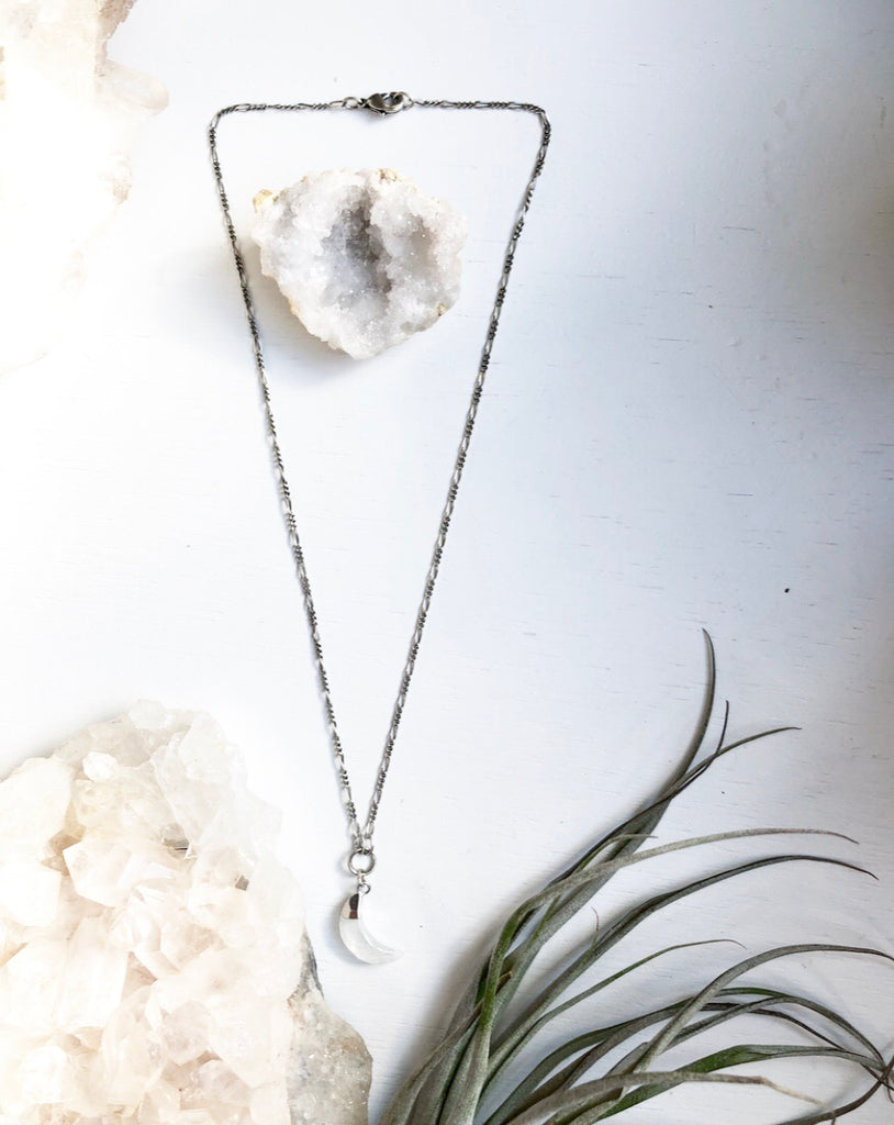 Rainbow Moonstone Crescent Moon in Silver Crystal Necklace