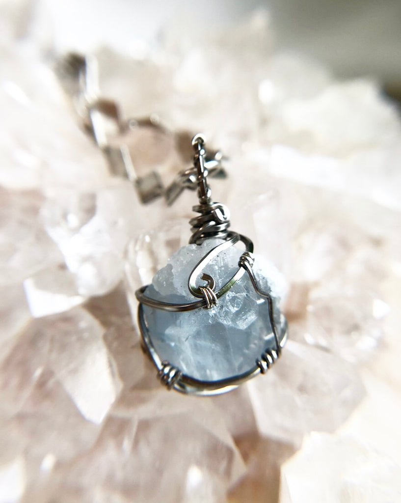 Celestite Crystal Necklace