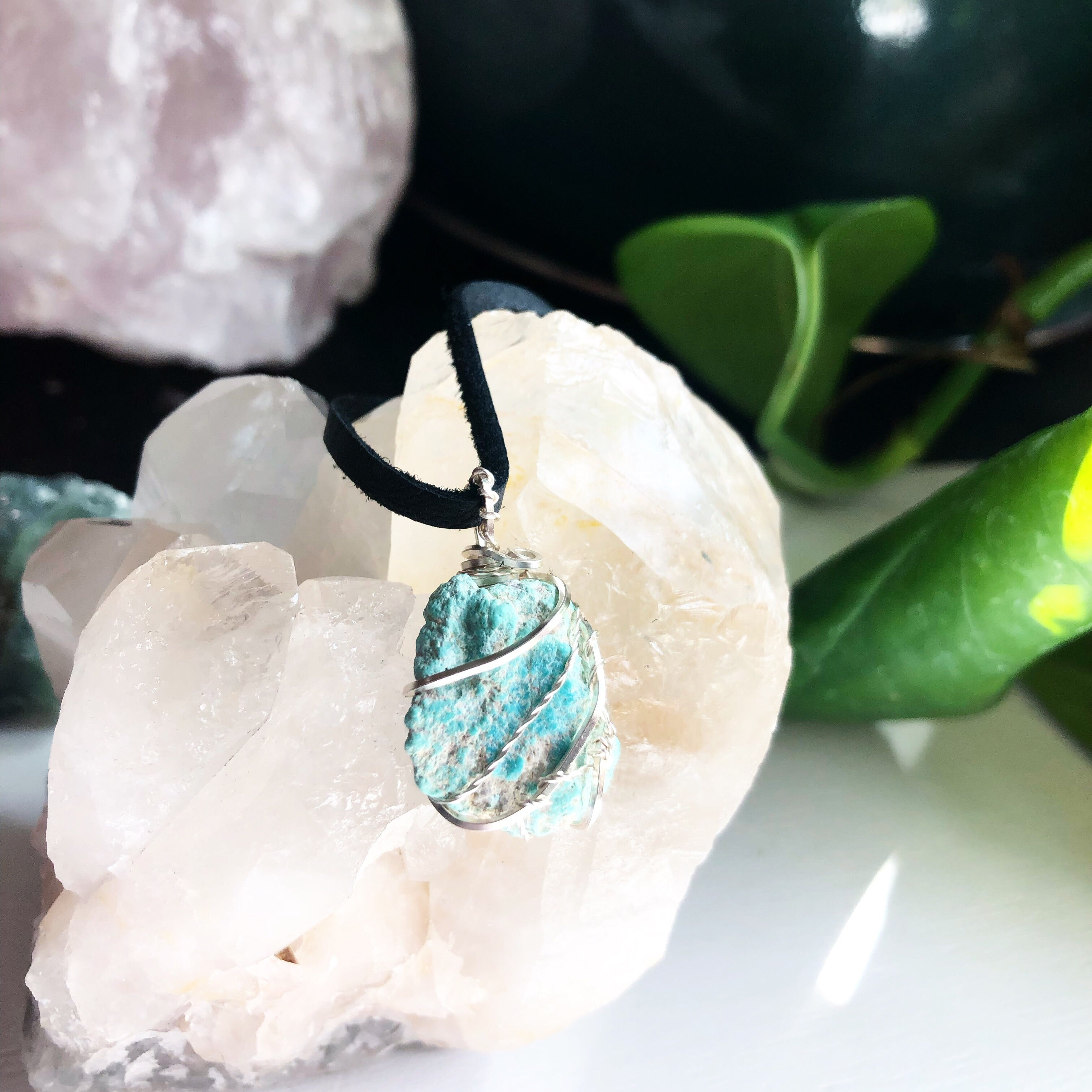 Reserved Garden Quartz and Turquoise Crystal Pendant