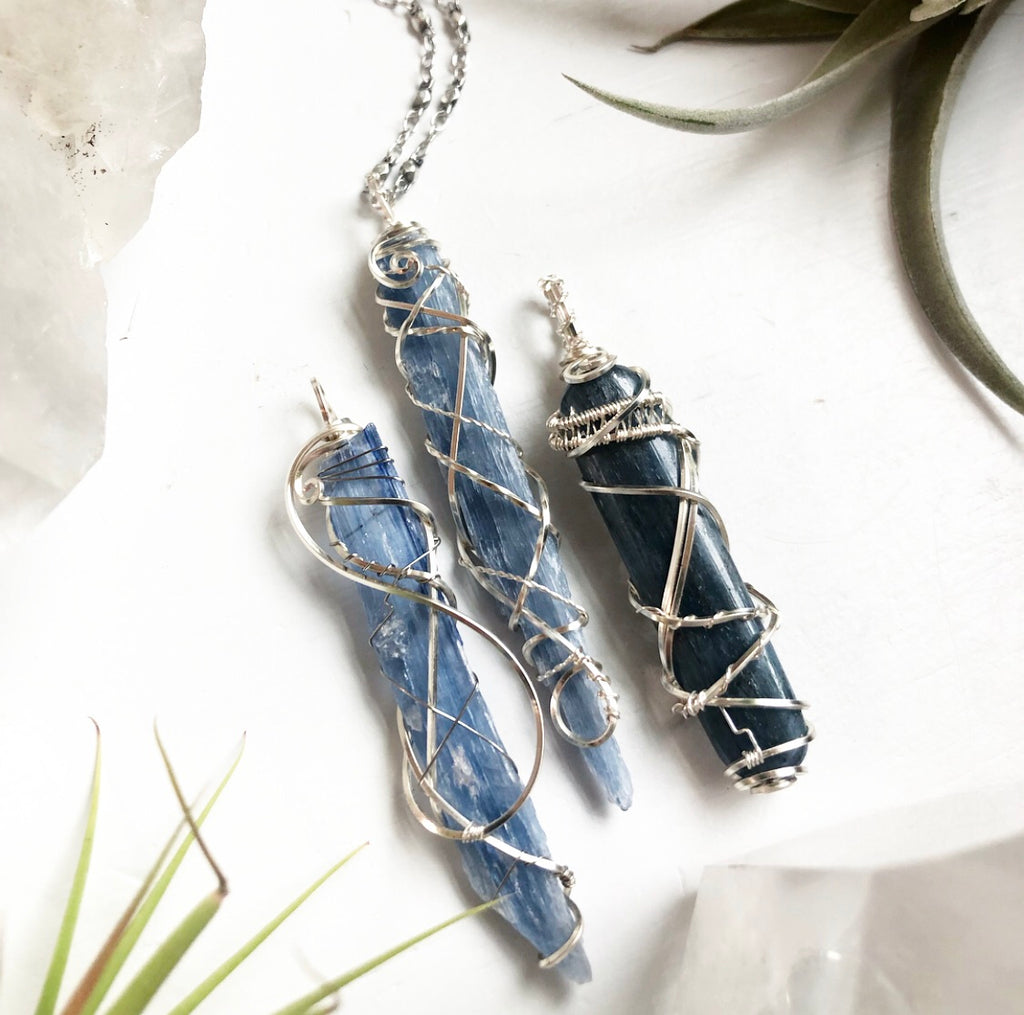 Custom Order for Three Blue Kyanite pendants with chain