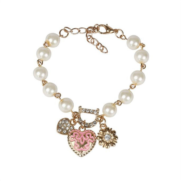 Pearl Crystal Love Heart Bangle Bracelet