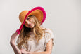 Fringe Sun Hat in Orange and Pink