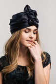 Modern Turban - Black Silk